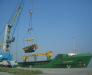 Reloading of the construction equipment in the port of Poti Georgia