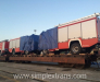 Delivery of fire trucks by railway