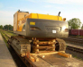 Transportation of excavator in the rail car