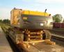 Der Schienentransport des Baggers