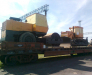 Transportation of oversized cargo by rail.