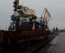 Yol inşaat donatımınının Gürcistan, Poti ve Batumi deniz limanlarında gemiden tren vagonlarına aktarılması