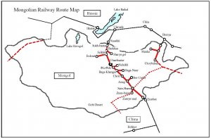 Harta cailor ferate din Mongolia