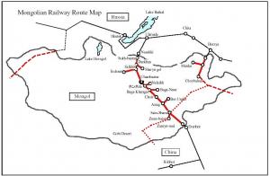 Карта железных дорог Монголии