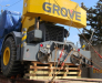 Transportation of construction equipment on rail cars