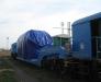 Der Bahntransport der Ausrüstung aus Europa nach Russland.