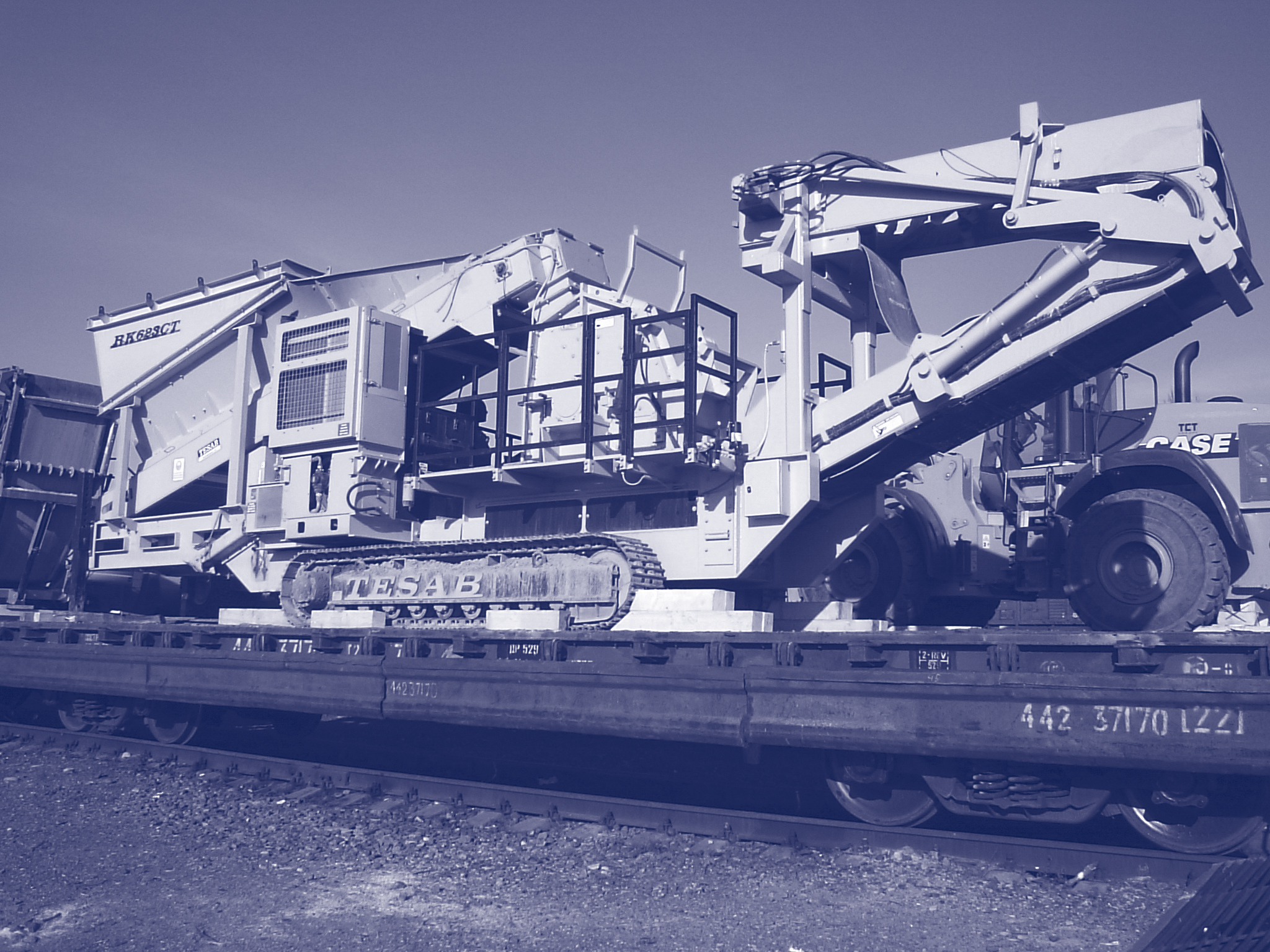 Carriage of drilling equipment, crushers, screening equipment.